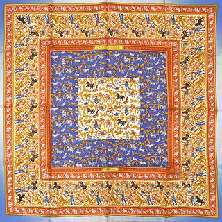 エルメス(Hermes)のエルメス  スカーフ  カレ90 CARRE   ブルー(スカーフ)