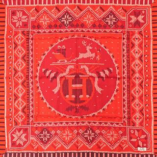 エルメス(Hermes)のエルメス  スカーフ  カレ90 CARRE   レッド(スカーフ)