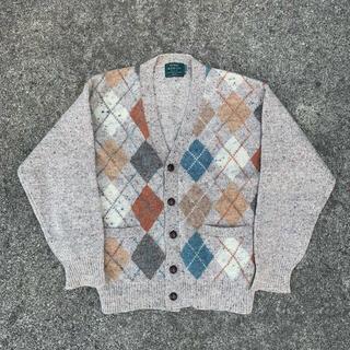 vintage アーガイル柄 ニットカーディガン 古着(カーディガン)