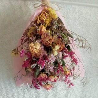 ドライフラワー スワッグ ブーケ インテリア 飾り 花束 カーネーション 薔薇(ドライフラワー)