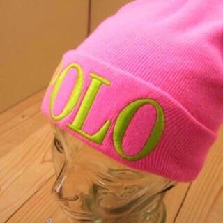 ポロラルフローレン(POLO RALPH LAUREN)の新品【ピンク】★ラルフ★ネオンカラー!ロゴ刺しゅうニットキャップ/帽子(ニット帽/ビーニー)