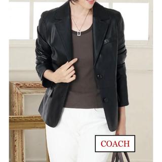 コーチ(COACH)のコーチ COACH 本革 シグネチャーデザイン レディース レザージャケット(テーラードジャケット)