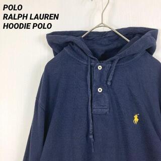 POLO RALPH LAUREN - 【アメリカ古着】ポロラルフローレン長袖鹿の子ポロパーカー ユニセックスネイビーL