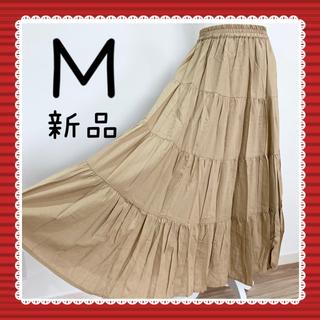 テチチ(Techichi)のローンティアードスカート フレア 麻 ロングスカート マキシ ベージュ M(ロングスカート)