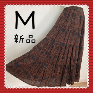 テチチ(Techichi)のローンティアードスカート 麻 ボリュームロングスカート マキシ ミモレ 黒 M(ロングスカート)