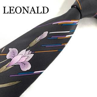 レオナール(LEONARD)のネクタイ レオナール 花柄 ストライプ風 ダークグレー シルク(ネクタイ)