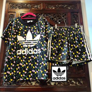 adidas - アディダス オリジナルス 黒 花柄 ジャージ セットアップ パンツ Tシャツ