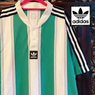 adidas - アディダス 大きめサイズ ブルー ストライプ Tシャツ ゲームシャツ ジャージ