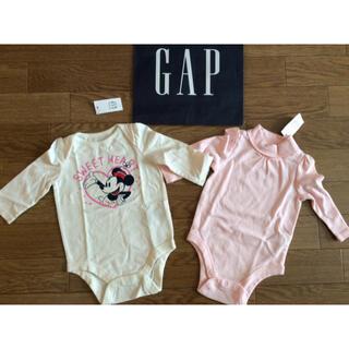 ベビーギャップ(babyGAP)の新品未使用タグ付きギャップDisneyロンパース白ピンク長袖2点セット60肌着(肌着/下着)