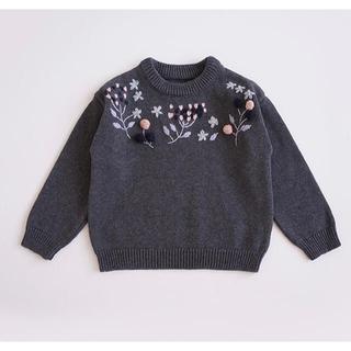 新作 2色 立体 花柄 手刺繍 セーター ニットトップス 長袖