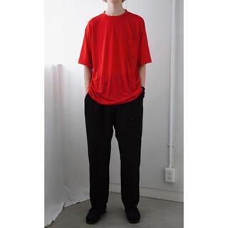 コモリ(COMOLI)のコモリ ウール天竺 半袖シャツ 赤(Tシャツ/カットソー(半袖/袖なし))