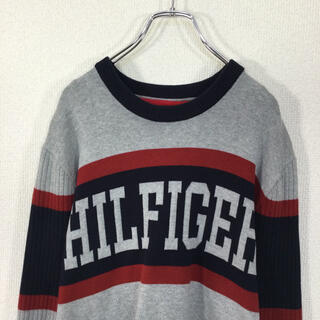 TOMMY HILFIGER - 【美品・ビッグロゴ】トミーヒルフィガー ニット セーター XLサイズ 切り替え