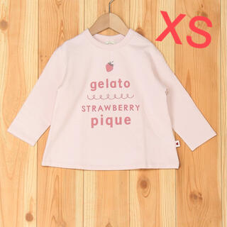 ジェラートピケ(gelato pique)の新品 ジェラートピケ いちご カットソー 長袖 ストロベリー ロゴプリント(Tシャツ/カットソー)