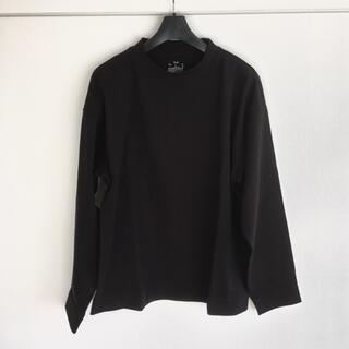 ムジルシリョウヒン(MUJI (無印良品))の無印良品 インド綿ドロップショルダー長袖Tシャツ S〜M ブラック(Tシャツ/カットソー(七分/長袖))