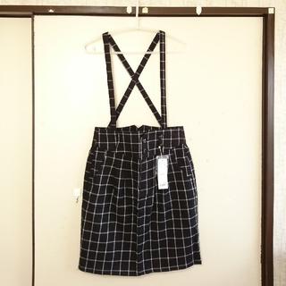ローリーズファーム(LOWRYS FARM)の新品🔶ハイウエストチェック柄サス付 台形◆タイトスカートM 黒(ひざ丈スカート)