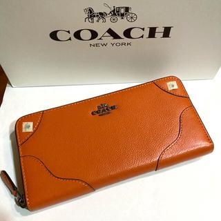 COACH - COACH コーチ長財布 ミッキーグレインレザーF52645 オレンジ箱・紙袋付