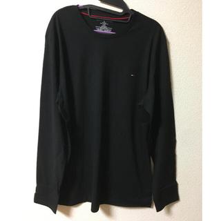 トミーヒルフィガー(TOMMY HILFIGER)のトミーヒルフィガー ワンポイント ロンt 黒 タグ付き 新品未使用(Tシャツ/カットソー(七分/長袖))