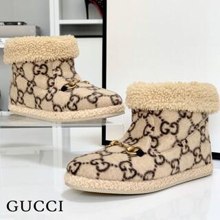 グッチ(Gucci)の2808 未使用 グッチ GG ホースビット ムートン ショートブーツ ベージュ(ブーツ)