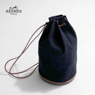 Hermes - HERMES✨エルメス ポロション ミミルGM 巾着型ショルダーバッグ ネイビー