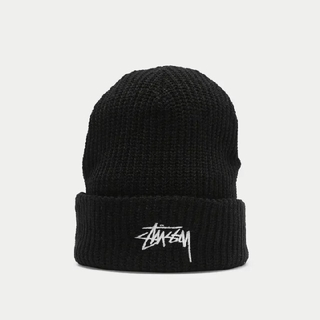 ステューシー(STUSSY)の☆新品☆ STUSSY ビーニー ニット帽 ステューシー 黒 ブラック (ニット帽/ビーニー)