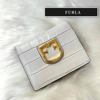 Furla - 【美品】FURLA フルラ 折財布 クロコ 型押しレザー ベルヴェデーレ
