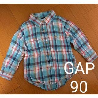 ベビーギャップ(babyGAP)の90 GAPチェックシャツ(水色、赤)(ブラウス)