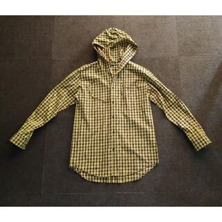 バレンシアガ(Balenciaga)の正規品 BALENCIAGA 総ロゴ チェックオーバーシャツ フード パーカー(シャツ)
