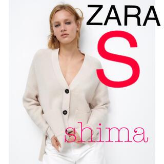 ZARA - ZARA ポケット付きニットカーディガン エクリュ Vネックカーディガン
