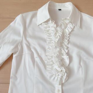 フリル ブラウス 光沢 ボタンシャツ ホワイト フリルシャツ フリルブラウス(シャツ/ブラウス(長袖/七分))