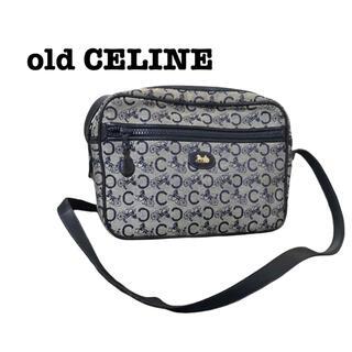 celine - old CELINE ショルダーバッグ ネイビー 馬車 総柄 ロゴ ホース