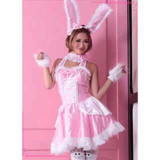 ハロウィン コスプレ コスプレ衣装 ピンク バニーガールワンピース コスチューム(衣装一式)