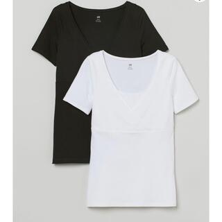エイチアンドエム(H&M)のH&M 授乳用Tシャツ 2枚セット 黒 白 サイズS(Tシャツ(半袖/袖なし))