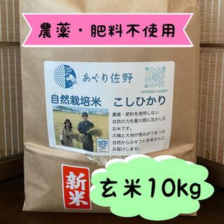 令和3年新米 自然栽培米 玄米10kg 農薬肥料不使用 コシヒカリ