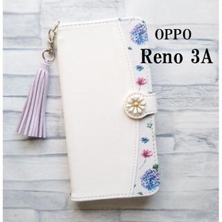 OPPO Reno3A 花柄 ホワイト 手帳型 ケース カバー