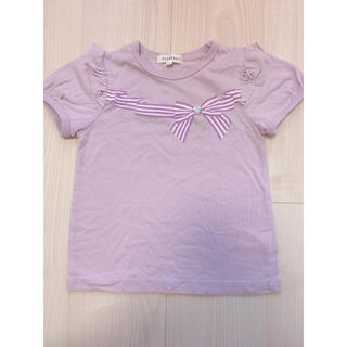 サンカンシオン(3can4on)のラベンダー パステルパープル リボン トップス 110(Tシャツ/カットソー)