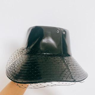 Christian Dior - 確実正規品ディオール チュール付きエナメルバケットハット レザー59