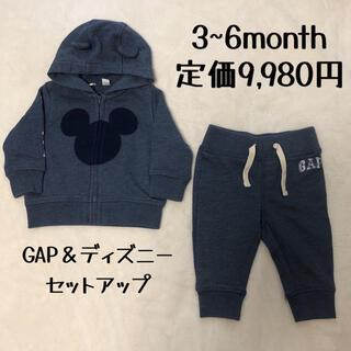 ベビーギャップ(babyGAP)のbabyGap ディズニーミッキーマウス ロゴ パーカー パンツ セットアップ(トレーナー)