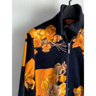 レオナール(LEONARD)の美品レオナール日本製花柄ベロアリブニットブルゾンジャケットコート(ブルゾン)