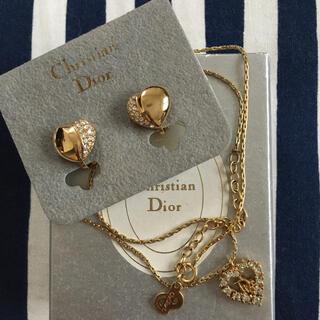 Christian Dior - 未使用 ヴィンテージ ディオール ハート イヤリング ロゴ ストーン ネックレス