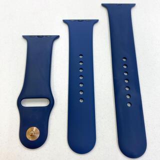 アップルウォッチ(Apple Watch)のアップルウォッチ ラバーベルト 紺 Apple Watch 42mm 44mm(ラバーベルト)