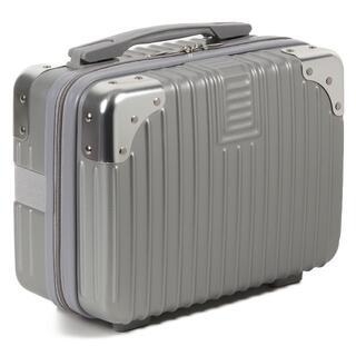 【送料無料!】Sサイズ ミニスーツケース型 メイクバッグ おもちゃ入れ シルバー(メイクボックス)