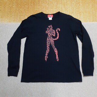 クリームソーダ 立ち猫ヒョウ柄 ロンTシャツ◇ブラックキャッツ ピンクドラゴン