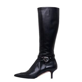 グッチ(Gucci)のグッチ ブーツ インターロッキング ロング ブラック 6 1/2 23.5cm(ブーツ)