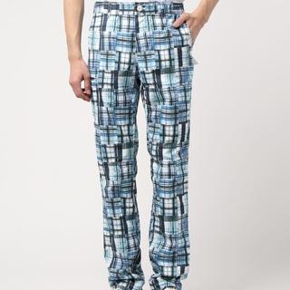 ビームス(BEAMS)のBEAMS GOLF チェック柄 メンズ パンツ スラックス ブルー Lサイズ(ウエア)