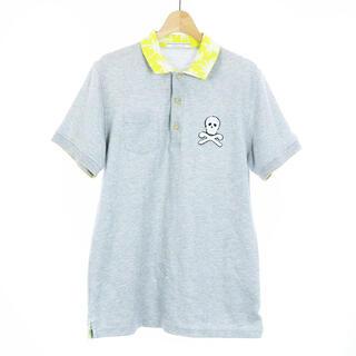 マークアンドロナ(MARK&LONA)のマーク&ロナ ポロシャツ ドクロ ワッペン 半袖 L グレー 黄色(ポロシャツ)