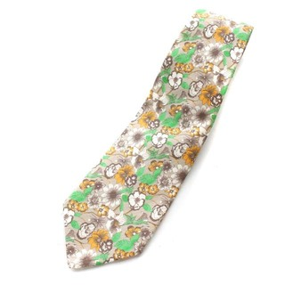 LUIGI BORRELLI - ルイジボレッリ 花柄プリントネクタイ シルク 絹 リネン混 麻混 グレージュ 緑