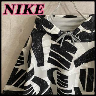 NIKE - 【美品】ナイキ NIKE 刺繍 ロゴ 総柄 オーバーサイズ パーカー XXL