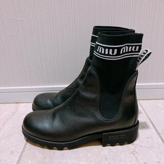 ミュウミュウ(miumiu)のミュウミュウ miumiu アンクルブーツ ソックスブーツ 黒 38 ショート(ブーツ)