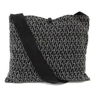 mina perhonen - ミナペルホネン ショルダーバッグ リネン 麻 刺繍 黒 ブラック