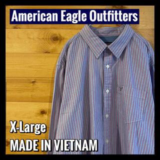 アメリカンイーグル(American Eagle)の【American Eagle】ストライプシャツ 刺繍ロゴ 長袖シャツ US古着(シャツ)